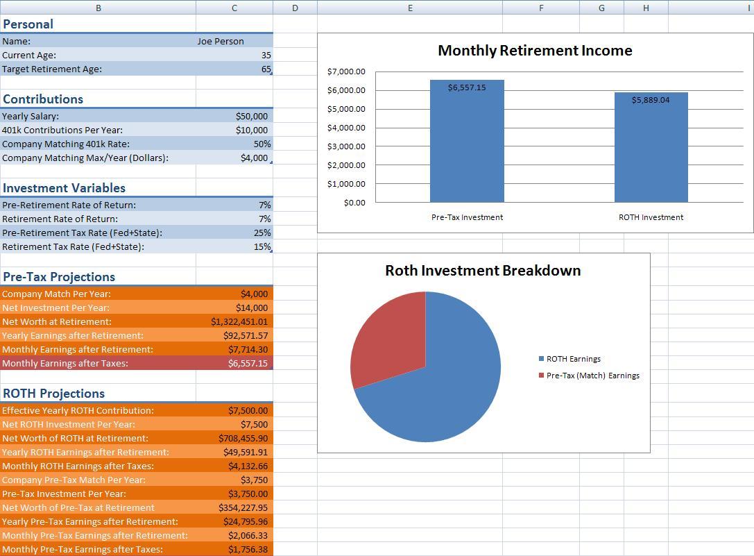 401k spreadsheet screen shot