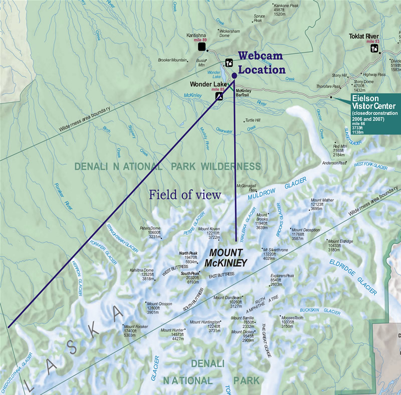 Map of Denali National Park and Preserve Digital Camera View
